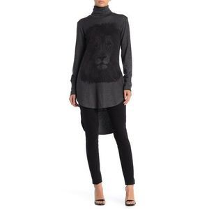 Go Couture Tunic Sweater XL Lion Print Turtleneck
